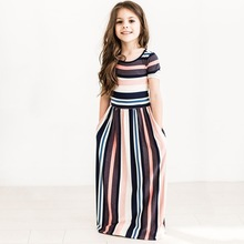 2017 Newest Girls Dresses Vertical Stripes Fashion Short Sleeves Dresses Children's Clothing INS Style Cotton1-7y