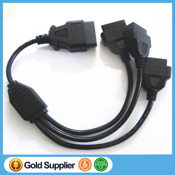OBD2 Y Cable, OBD2 Splitter Cable, OBD2 extension Cable OBD II OBD2 16Pin 1 Male to 3 Female Diagnostic Cable