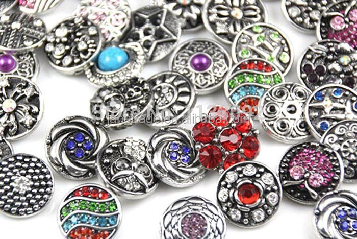 wholesale 100pcs/lot Mix Many styles 20mm Metal Snap button bracelets Rhinestone Styles Button Ginger Snaps
