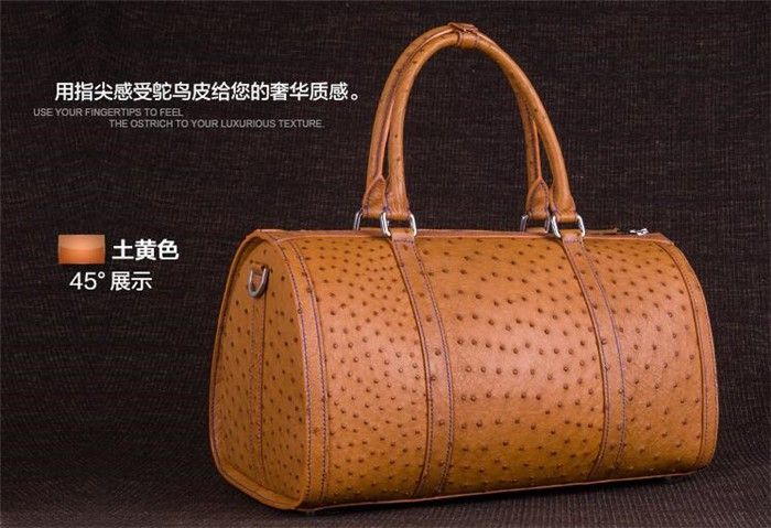 Customize exquisite perfect looking luxury ostrich leather travel duffle bag_8