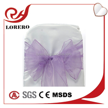 Crystal cheap Violet organza chair sashes for weddings