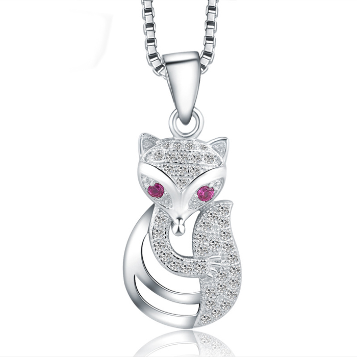 SJ Costume Valentine's Accessory SJSW116 Animal Fox Shape Simulated Gemstone inlayed 925 Sterling Silver Platinum Plated Pendant