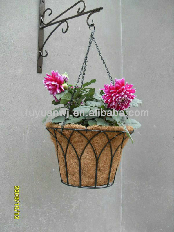decorative pvc coatd 3 tier wall hanging flower basket planters on sale