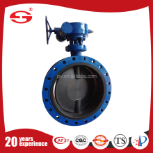 GOST standard Double Flange handle worm gear flange type soft seal butterfly valve