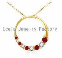 Round Ruby and Diamond hollow Circle Journey Pendant red necklace