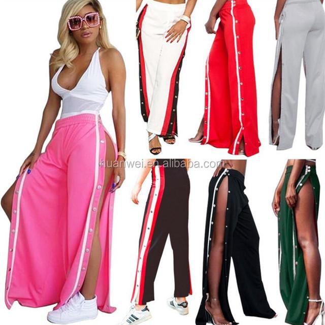 New arrival trendy side striped split women casual sports pants high waist loose trousers