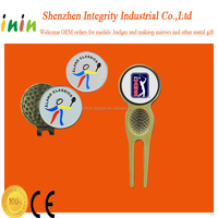 a set of golf divot tool with metal blank golf hat clip ball marker