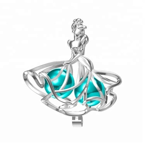 925 sterling silver dancing girl jewelry Wholesale princess pearl cage pendant
