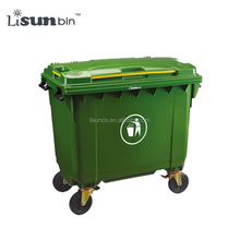 large outdoor plastic waste basket bins with 4 wheels for industry public and street