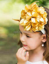2015 new design charming Girls gold bloom flower hair accessories/Gorgeous Floral Fairy baby headband
