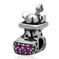 Black And Rose Zircon Pave Christmas Stocking Authentic 925 Sterling Silver European Charm Beads Fit European Bracelet SZPB260