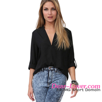 Wholesale Fashion V Neck Loose Fitting Chiffon Women Blouse