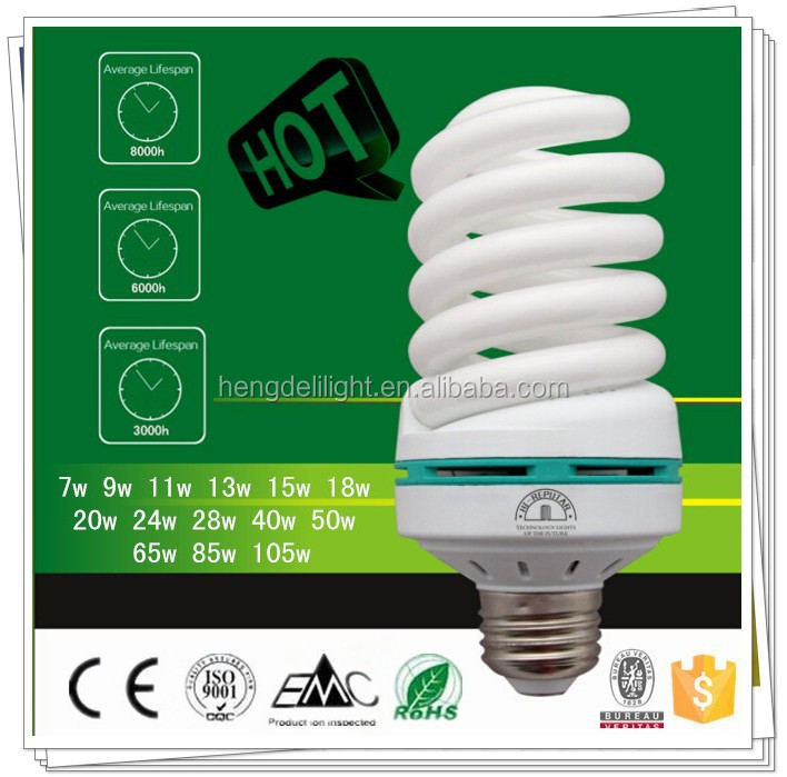 9w 11w 13w 15w 18w 20w 24w 28w 40w 50w 65w 105w cheap spiral energy saving lamp