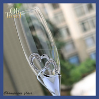 High Quality Customized Crystal wholesale glassware glasses flutes metal base heart-shaped diamond wendding decorations
