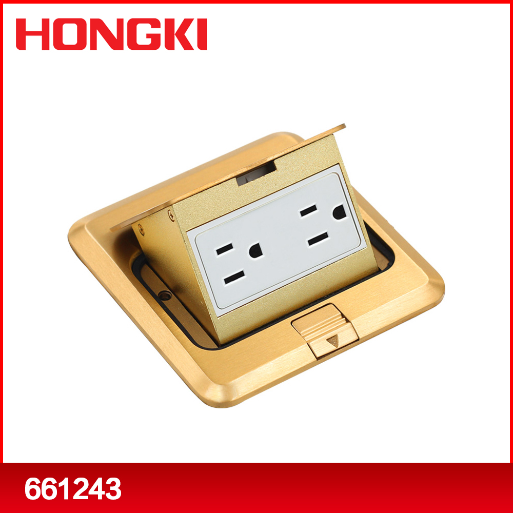Normal/soft brass pop-up floor socket outlet box with 15/20A deuplex American type sockets/GFCI