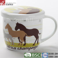 3.75 inch porcelain tea mug with cover