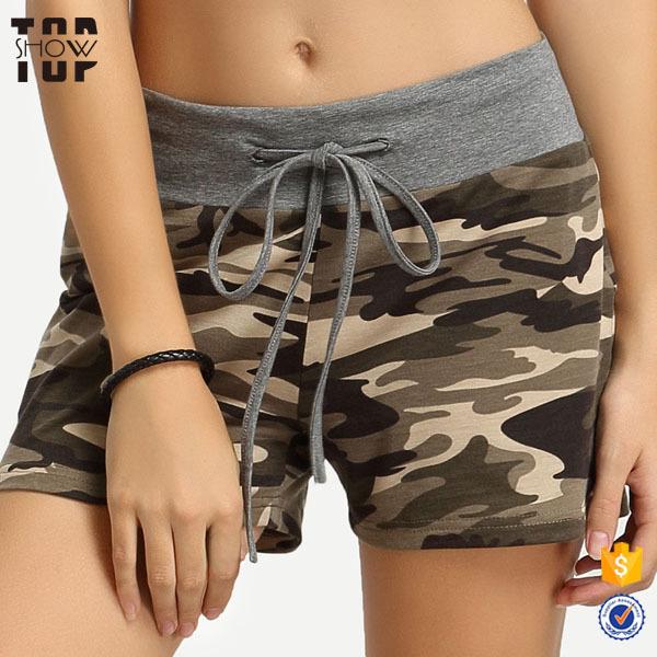 Clothing manufacturer camouflage shorts high rise drawstring womens sport shorts