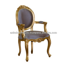 Versailles Carved Oval Arms Silk Chair