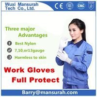 POWERTY new design dots printed polyester pu coated gloves