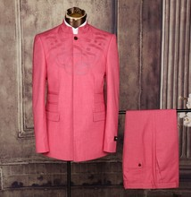 pink indian style chinese standing collar men suit
