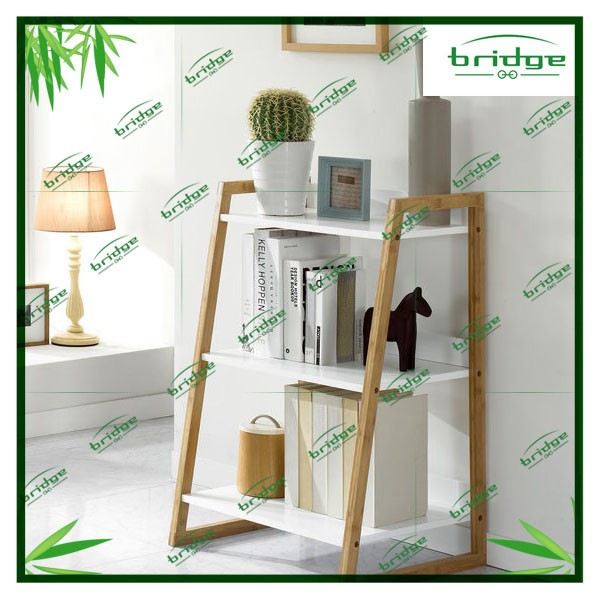 Gracious 3-tiers decorative bamboo storage rack corner shelf storage shelf