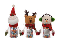 Christmas glass candy bottles for sale Christmas santa snowman Candy bottle Christmas Decorative Small Plastic Bottle TF02