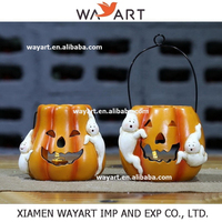 2015 Hot sale high quality Resin Hanging Pumpkin candle lantern with Led light Halloween Decoration