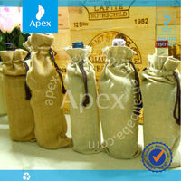 Customized drawstring wine jute bag