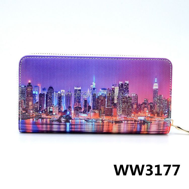 High Quality PU Leather Purse Hongkong Night Scene Printing Women Long Wallet Ladies Card Holder Purse With Phone Pocket