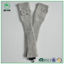 Fingerless long sleeve knitted gloves for women