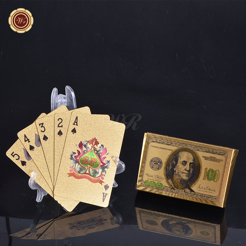 WR Gold Decorations Colorful Dollars Design Gold Poker Card 100 Dollar Gold Poker Card for Games and Souvenirs