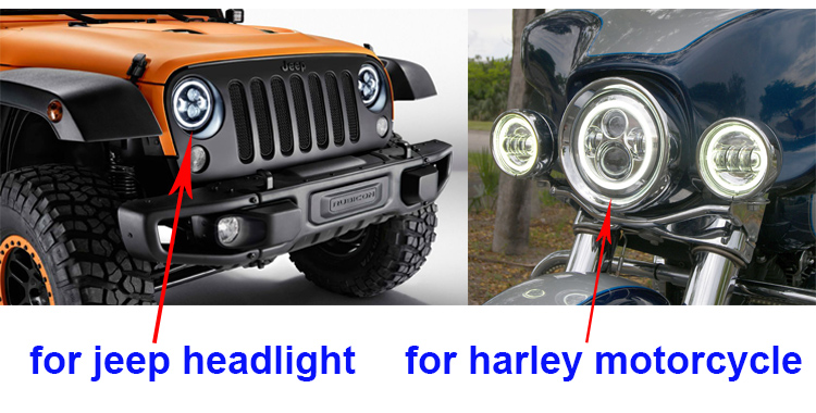 Osram led chip Round 7inch 45W LED headlight with halo angel eyes & turn signal light for jeep wrangler