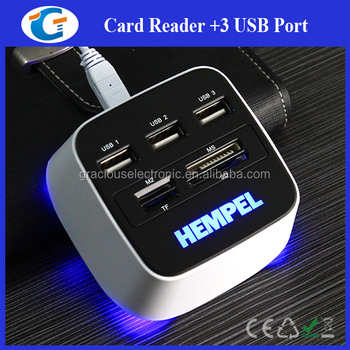 Gracious unique led light up usb hub with card reader