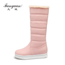 Waterproof knee high boots fashion women platform no heel snow boots plush lining round toe winter shoes