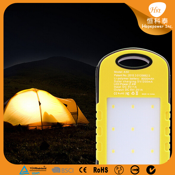 waterproof solar power bank 4000mah, solar charger for mobile phone