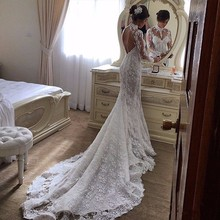 NE082 Robe De Mariage 2017 Lace Long Sleeve Mermaid Wedding Dresses Sexy High Neck Backless Sweep Train Muslim Wedding Dress