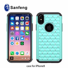 Quality Guarantee Dual Layer Protect Combo Diamond Phone Cover for Iphone X