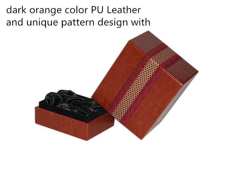 Creative Packing Design Dark Orange Color Pu Leather Perfume Box