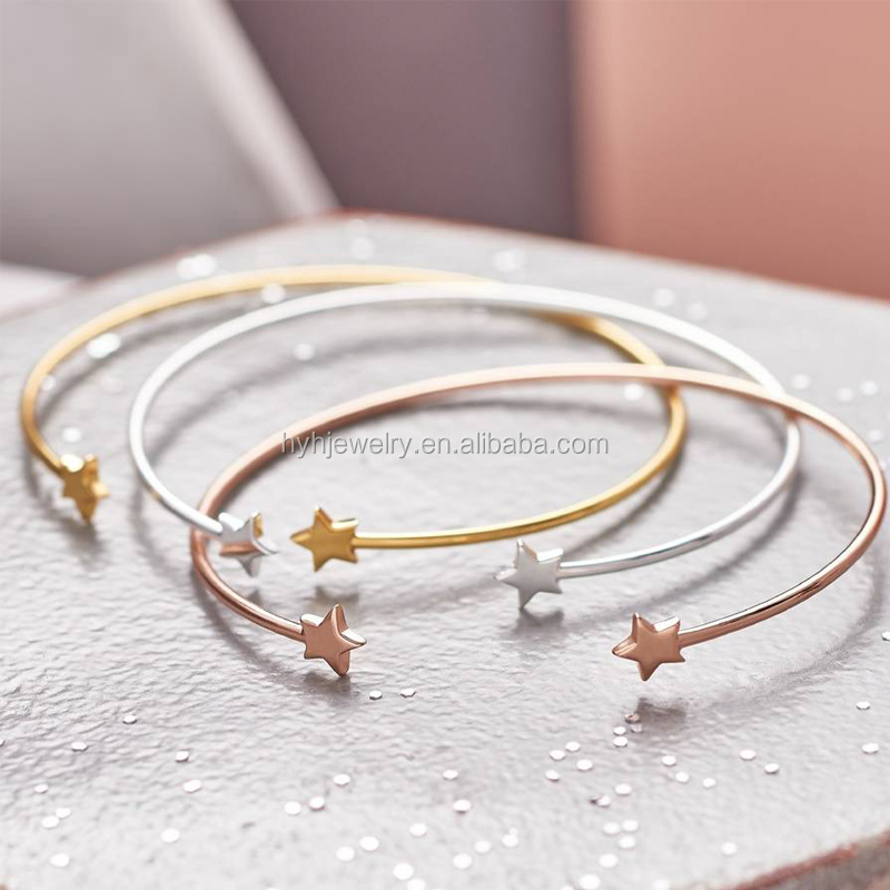 Factory direct sale double star charm open cuff design trending solid silver women bangle