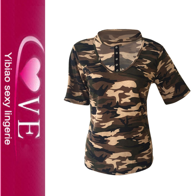 Good Quality Skin Tight Short Sleeve Camouflage Women T Shirts Tops
