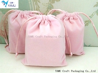 Pink drawstring velvet pouch/flannel bag/drawstring flannel pouch for jewelry bag