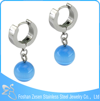 ZS15106 stainless steel cheap wholesale hoop earring fake blue diamond dangler earrings