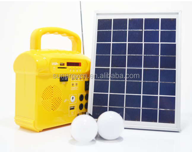 Solar panel powered 9V 10W 4pcs 2W LED Bulb Portable Solar LED lighting System kit for home