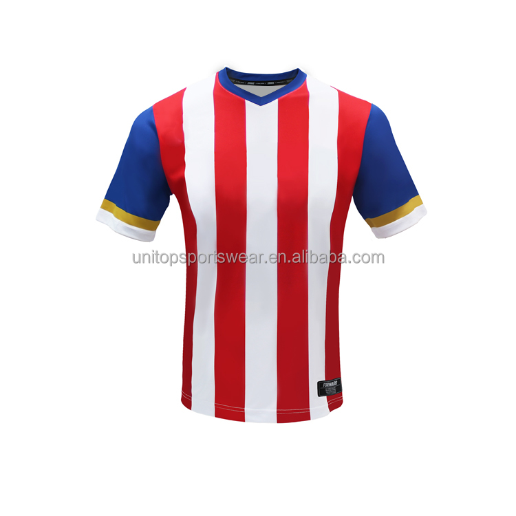Bespoke sublimation navy red stripe soccer shirts custom soccer jersey
