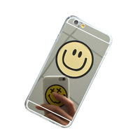 Aluminum Mirror Case Cover for iPhone 6 case Gold, Smile TPU Case