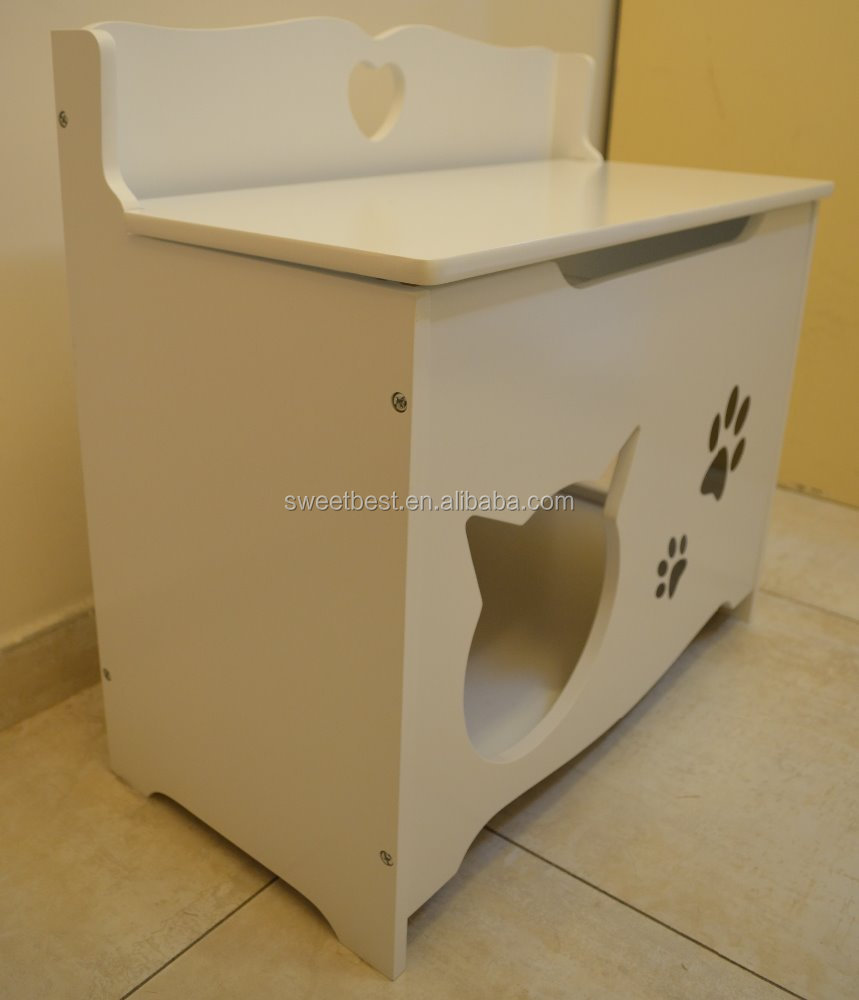 Multi Function Cute MDF Dog & Cat House with Storage and bed