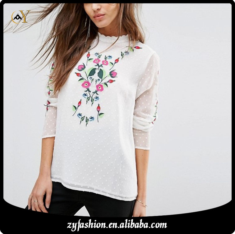 3ZY Newest high fashion plain stylish latest long sleeve custom chiffon embroidery ledis top