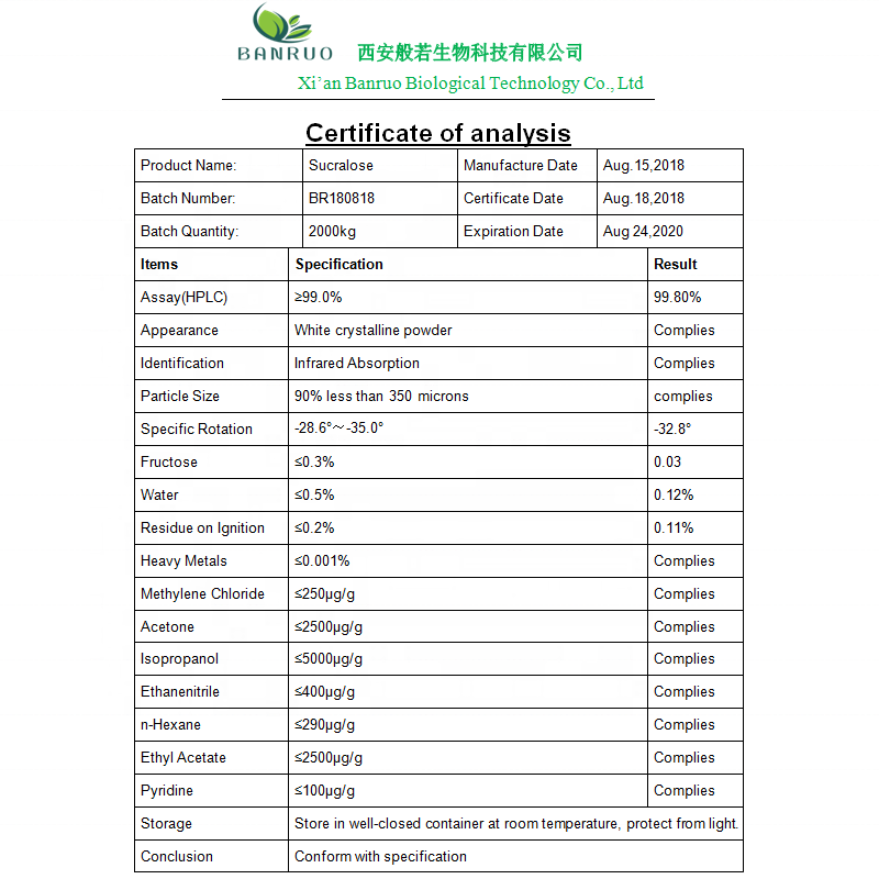 Manufacturer Supply Best Price Bulk Sucralose Powder Sweetener