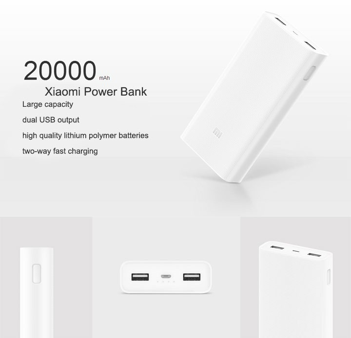 Original Xiaomi Power Bank 20000mAh Quick Charger Ultra Slim USB Type C Battery Powerbank
