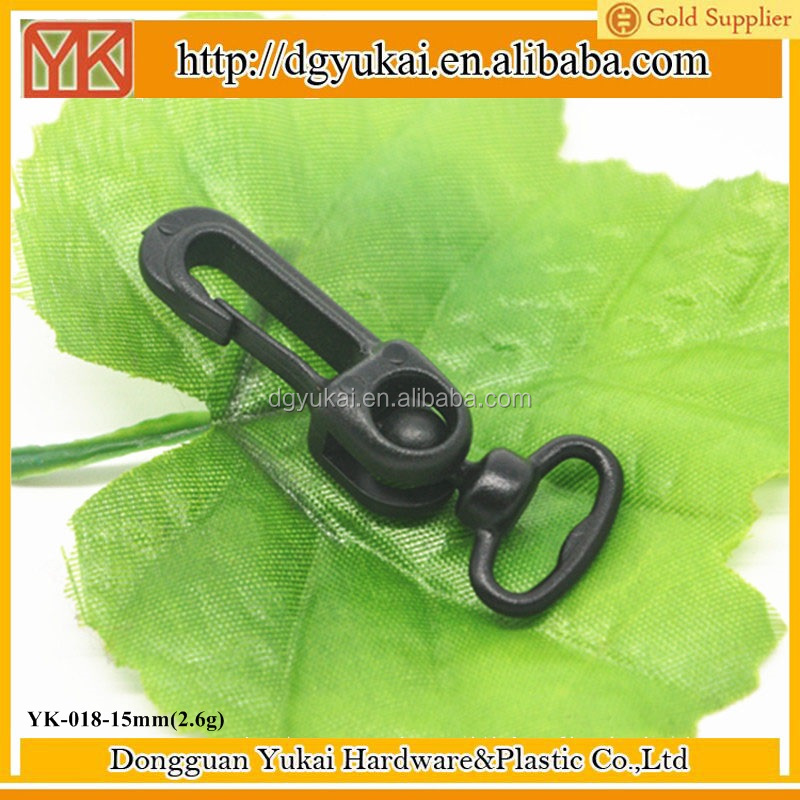 "Yukai Plastic Black 5/8"" Inside Diameter Oval Ring Lobster Clasp Swing Claw Swivel for Strap Pack"